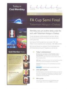 2012 FA Cup Semi-Final Tottenham Hotspur v Chelsea official VIP bulletin 15/04/2012
